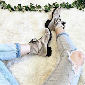 Dolce Vita Bardot Combat Boots Silver Velvet 8.5